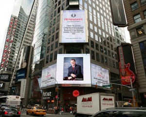 Tom Nies and his message of thanks to Cincom customers and employees is displayed in Times Square on Sept. 29, 2008.